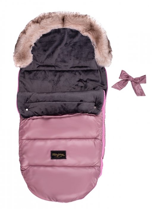 Detský fusak Baby Nellys STYLE 4 v 1 s kožušinkou a mašličkou, 110 x 50 cm, pudrově ružová - N