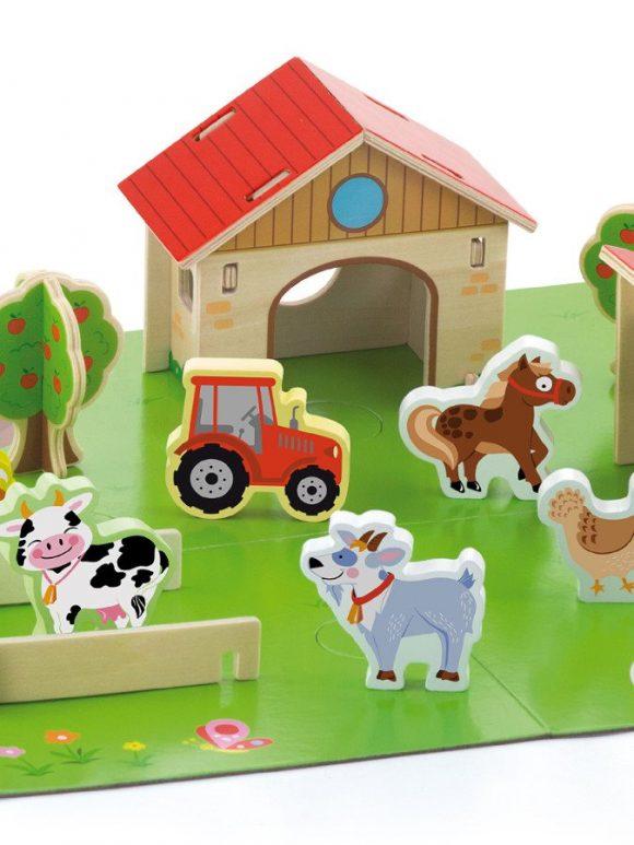 Detské drevené 3D puzzle Viga Farma - C
