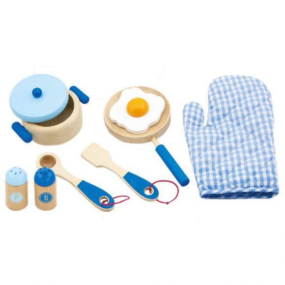 Detský drevený riad Viga-raňajky modrý - C