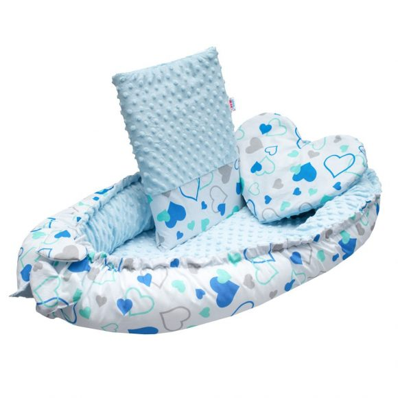 Luxusné hniezdočko s vankúšikom a perinkou New Baby z Minky modré srdiečka - C