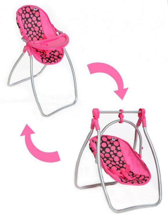 Jedálenská stolička a hojdačka 2v1 pre bábiky PlayTo Isabella - C